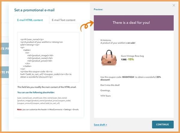 YITH Wishlist plugin promotional email screenshot