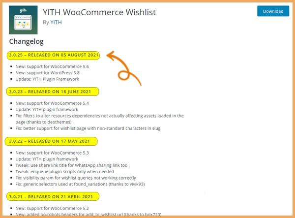 Wishlist plugin chanelog screenshot