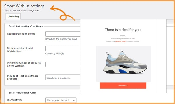 a promotional email appearance a setting