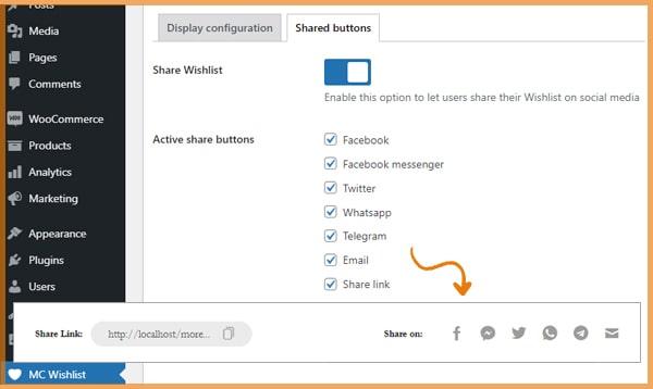 wishlist share option on social networks