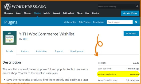 wishlist plugin information in wordpress repository
